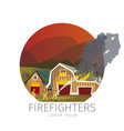 firefighters eliminating farm vector image vector image
