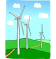 Hand-drawn of windmill power plant vector image