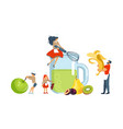 happy family cooking together a smoothie vector image vector image