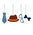 hat tie glasses and bow hanging decorative card vector image