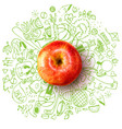 healthy lifestyle concept with apple and doodles vector image vector image