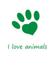 i love animals poster vector image