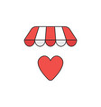 icon concept heart under store awning vector image vector image