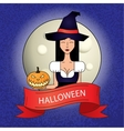 Linear icon with cute Halloween witch in purple vector image