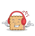 listening music biscuit cartoon character style vector image