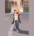 man giving piggyback ride to his girlfriend vector image vector image