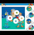 match pieces puzzle game with robots vector image