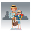 mother and daughter with map suitcase backpack vector image