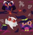 mystery halloween nightbirds flat seamless pattern vector image vector image