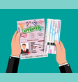 passport with visas stamps boarding pass vector image