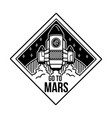 patch go to mars with space ship vector image