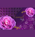 purple roses realistic violet background vector image vector image