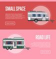 road life flyers with travel trailers vector image vector image