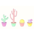 Set of colored cacti vector image vector image