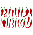 set of different hot red chili peppers vector image