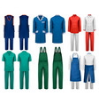 set of overalls with worker and medical clothes vector image vector image