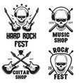 set rock and roll music emblems labels badges vector image