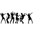 silhouettes collection set young people dancing vector image vector image