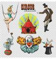 traveling chapiteau circus retro cartoon icons vector image vector image