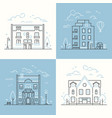 urban architecture - set of thin line design style vector image vector image