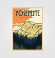 yosemite national park vintage poster outdoor vector image