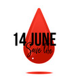 14 june world blood donor day banner with sign on vector image