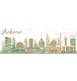 Abstract Ankara Skyline with Color Buildings vector image vector image