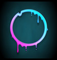 art melting frame 3d flowing flux circle drop leak vector image