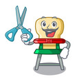 barber character baby eat on highchair indoors vector image
