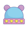 bashower warm hat with hearts and ears icon vector image
