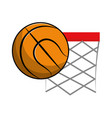 basketball and basket with the ball icon vector image