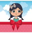 beautiful girl with clouds and bown ribbon vector image