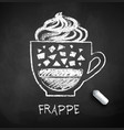 black and white sketch frappe coffee vector image vector image