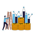 business coins money stairs chart vector image