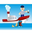 Captain on steamship vector image vector image