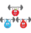 Cartoon characters lifting weights