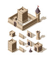 castles isometric creation kit medieval vector image vector image