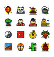 china icons set vector image vector image