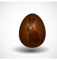 chocolate Easter egg with rabbit silhouette vector image