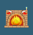christmas fireplace poster vector image vector image