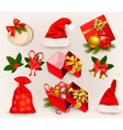Christmas icons and objects vector image vector image