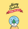 christmas tree on snow globe vector image