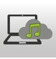 cloud computer connected music note vector image vector image