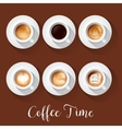 Coffee Cups with Americano Latte Espresso vector image