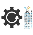 Cog Rotation Direction Icon With 2017 Year Bonus vector image vector image
