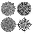 collection of four black and white floral ethnic vector image