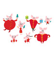 cute cartoon pigs in chinese clothes isolated on vector image vector image