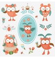 Cute Easter olws collection vector image vector image
