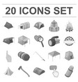 different kinds of tents monochrome icons in set vector image vector image