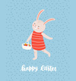 easter greeting card template with cute bunny or vector image vector image